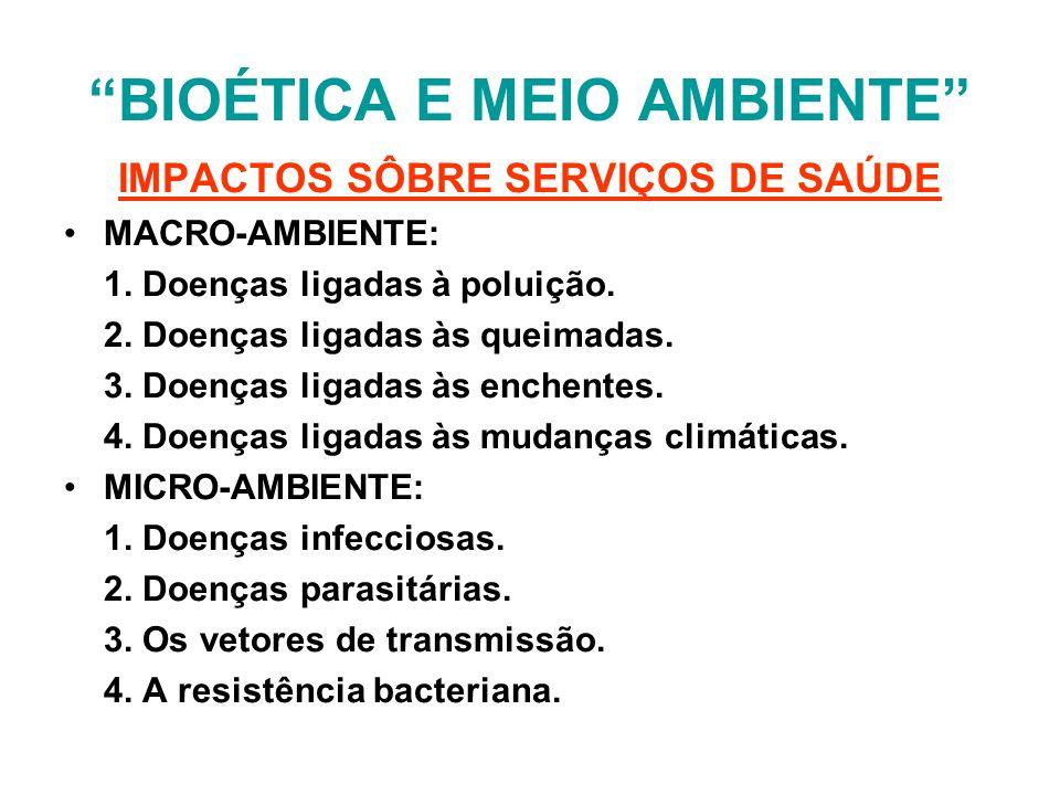 BIOÉTICA E MEIO AMBIENTE IMPACTOS SÔBRE SERVIÇOS DE SAÚDE MACRO-AMBIENTE: 1. Doenças ligadas à poluição. 2. Doenças ligadas às queimadas. 3. Doenças l