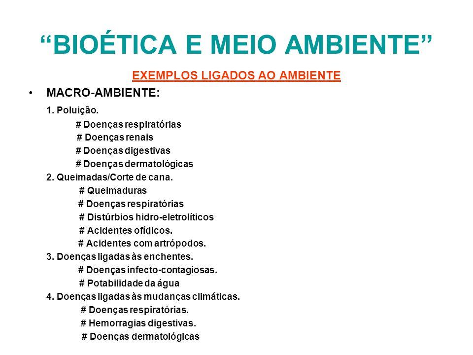BIOÉTICA E MEIO AMBIENTE EXEMPLOS LIGADOS AO AMBIENTE MACRO-AMBIENTE: 1. Poluição. # Doenças respiratórias # Doenças renais # Doenças digestivas # Doe