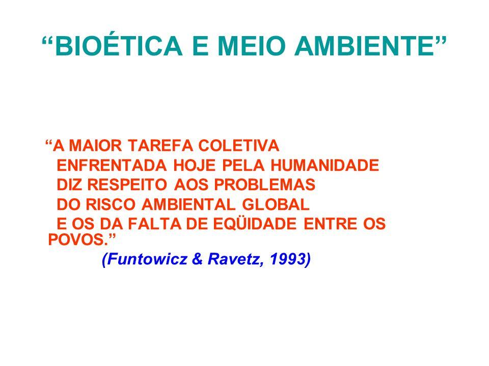 BIOÉTICA E MEIO AMBIENTE IMPACTOS SÔBRE SERVIÇOS DE SAÚDE MACRO-AMBIENTE: 1.