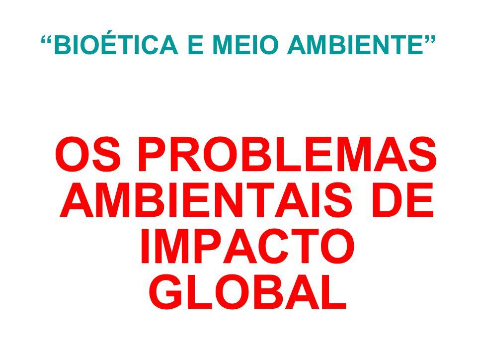 BIOÉTICA E MEIO AMBIENTE EXEMPLOS LIGADOS AO AMBIENTE MACRO-AMBIENTE: 1.
