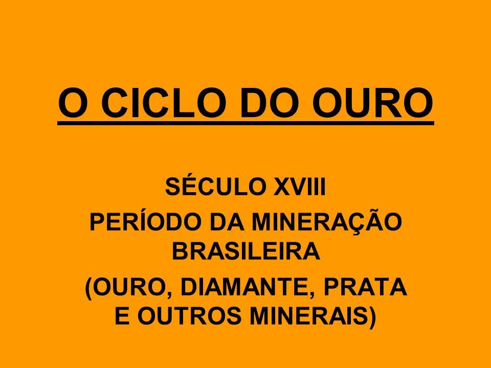 O INICIO DA EXPLORAÇÃO - Descoberta de minerais preciosos pelos bandeirantes no interior do país.