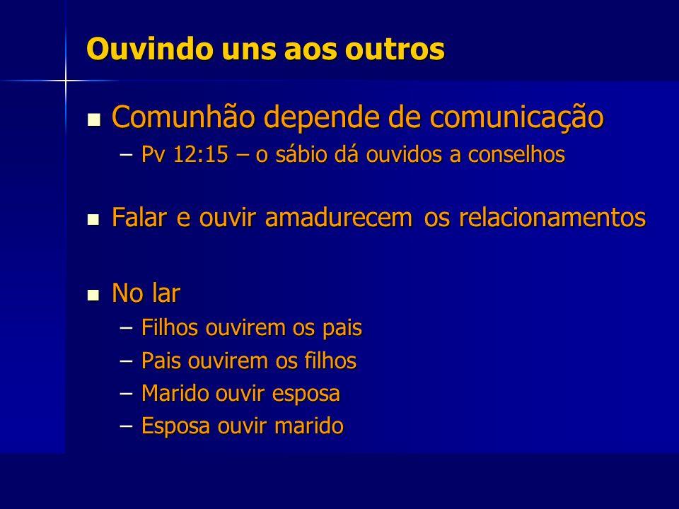 Ouvindo uns aos outros Comunhão depende de comunicação Comunhão depende de comunicação –Pv 12:15 – o sábio dá ouvidos a conselhos Falar e ouvir amadur