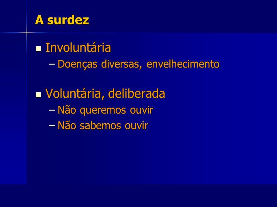 A surdez Involuntária Involuntária –Doenças diversas, envelhecimento Voluntária, deliberada Voluntária, deliberada –Não queremos ouvir –Não sabemos ou
