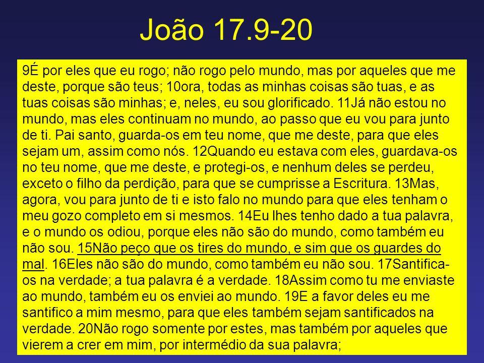 João 17.9-20 9É por eles que eu rogo; não rogo pelo mundo, mas por aqueles que me deste, porque são teus; 10ora, todas as minhas coisas são tuas, e as