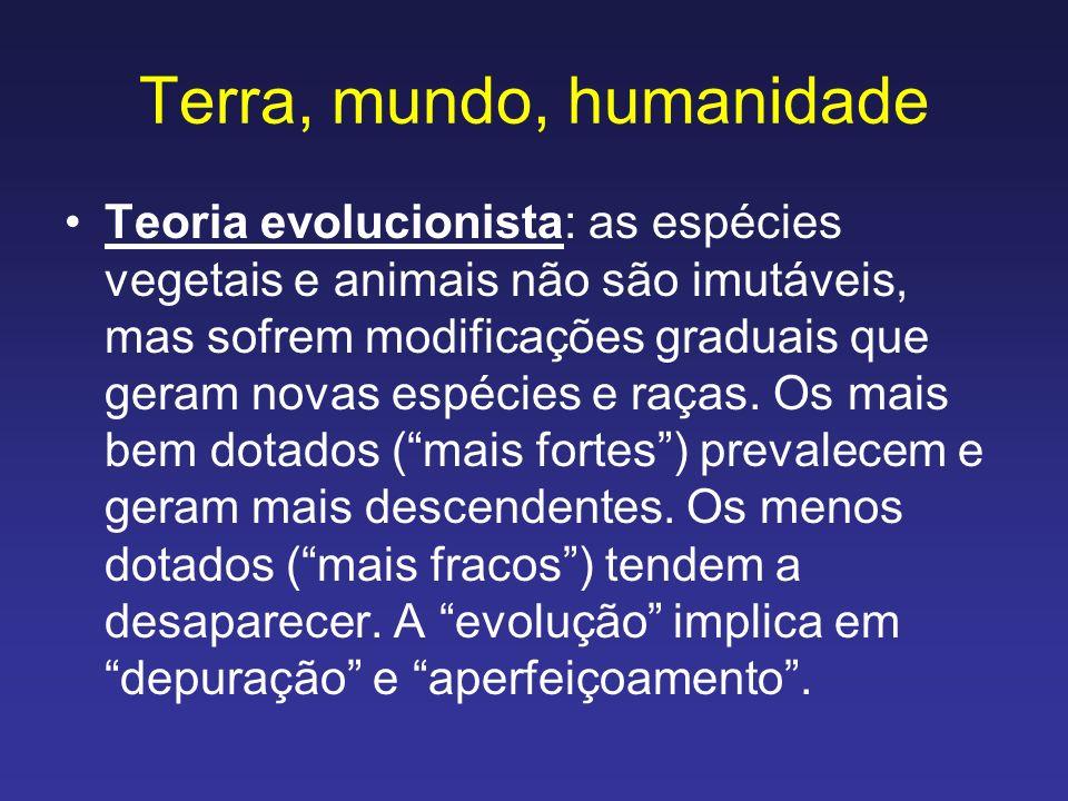Terra, mundo, humanidade De acordo com o pensamento evolucionista, a humanidade (a espécie mais bem dotada...) evoluiria continuamente, se aperfeiçoaria continuamente, caminharia inexoravelmente para a perfeição.