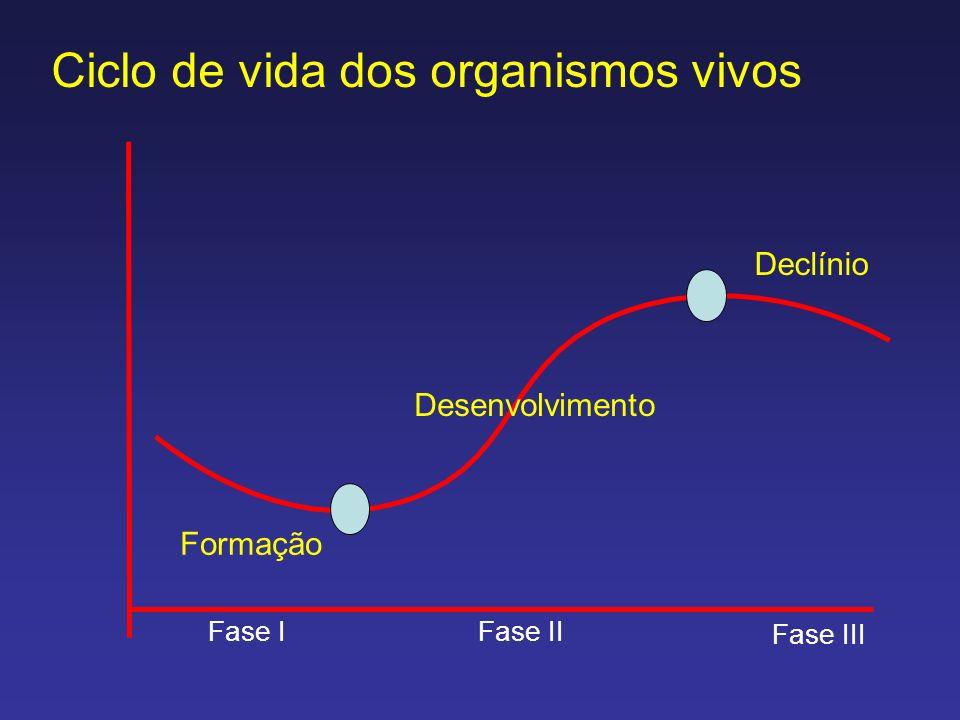 Ciclo de vida dos organismos vivos Formação Desenvolvimento Declínio Fase IFase II Fase III