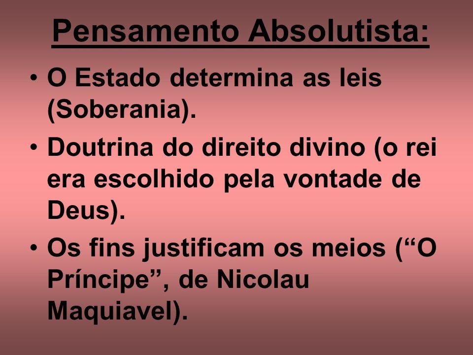 Pensamento Absolutista: O Estado determina as leis (Soberania). Doutrina do direito divino (o rei era escolhido pela vontade de Deus). Os fins justifi