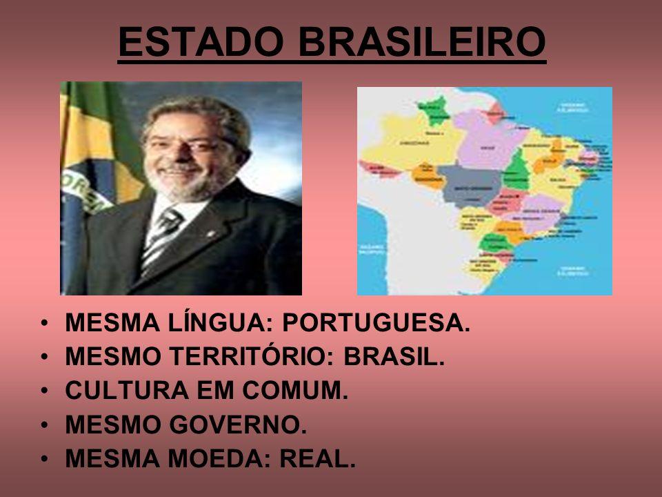 ESTADO BRASILEIRO MESMA LÍNGUA: PORTUGUESA. MESMO TERRITÓRIO: BRASIL. CULTURA EM COMUM. MESMO GOVERNO. MESMA MOEDA: REAL.