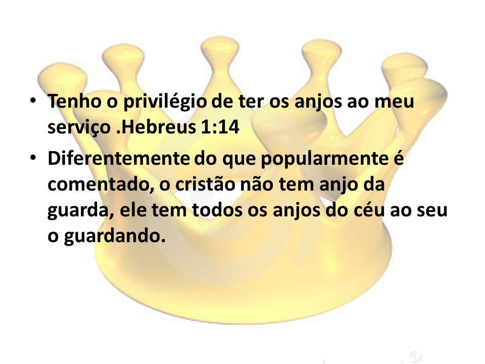 Tenho o privilégio de ter os anjos ao meu serviço.Hebreus 1:14 Diferentemente do que popularmente é comentado, o cristão não tem anjo da guarda, ele t