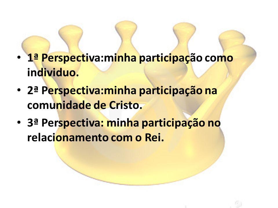 1ª Perspectiva:minha participação como individuo. 2ª Perspectiva:minha participação na comunidade de Cristo. 3ª Perspectiva: minha participação no rel