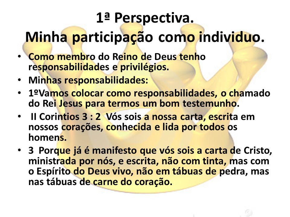 1ª Perspectiva. Minha participação como individuo. Como membro do Reino de Deus tenho responsabilidades e privilégios. Minhas responsabilidades: 1ºVam