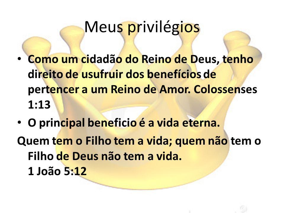 Meus privilégios Como um cidadão do Reino de Deus, tenho direito de usufruir dos benefícios de pertencer a um Reino de Amor. Colossenses 1:13 O princi