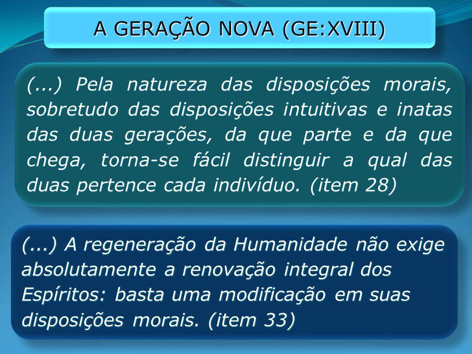 (...) Pela natureza das disposições morais, sobretudo das disposições intuitivas e inatas das duas gerações, da que parte e da que chega, torna-se fác