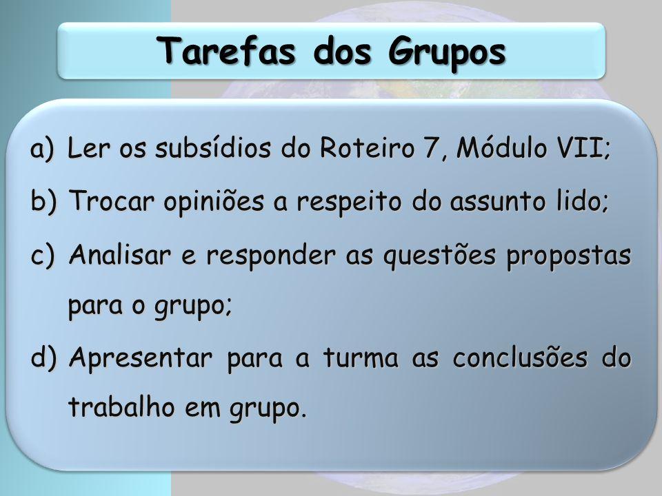 Tarefas dos Grupos a)Ler os subsídios do Roteiro 7, Módulo VII; b)Trocar opiniões a respeito do assunto lido; c)Analisar e responder as questões propostas para o grupo; d)Apresentar para a turma as conclusões do trabalho em grupo.