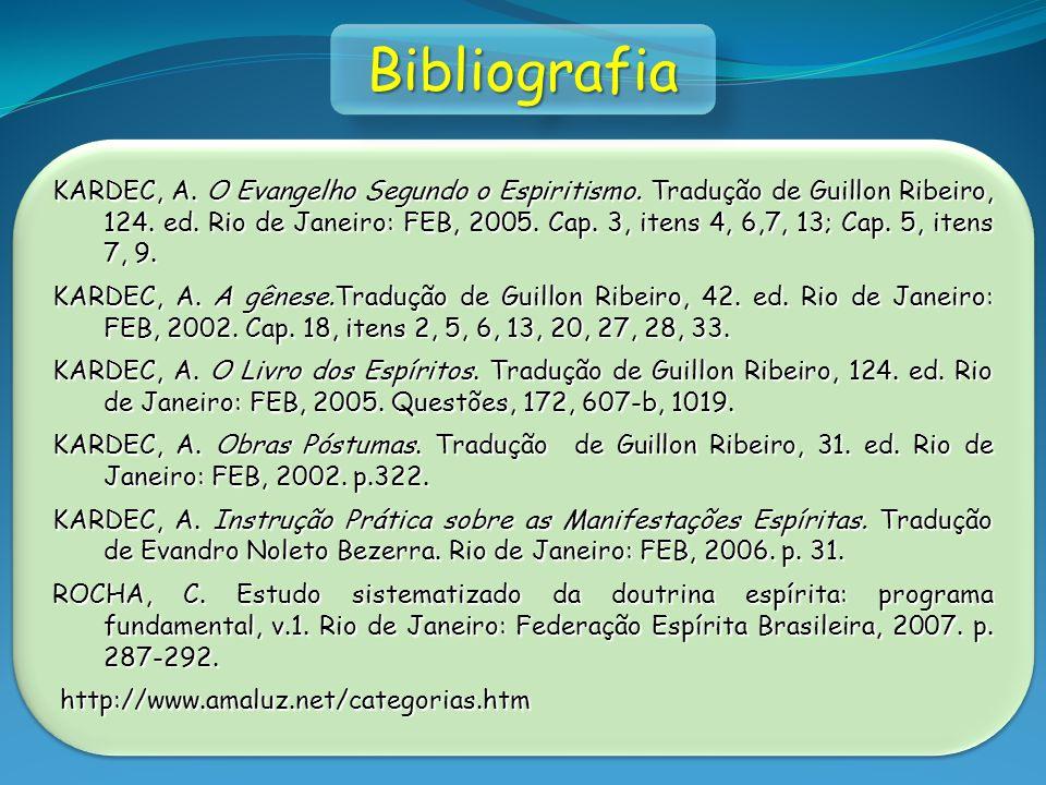 KARDEC, A. O Evangelho Segundo o Espiritismo. Tradução de Guillon Ribeiro, 124. ed. Rio de Janeiro: FEB, 2005. Cap. 3, itens 4, 6,7, 13; Cap. 5, itens