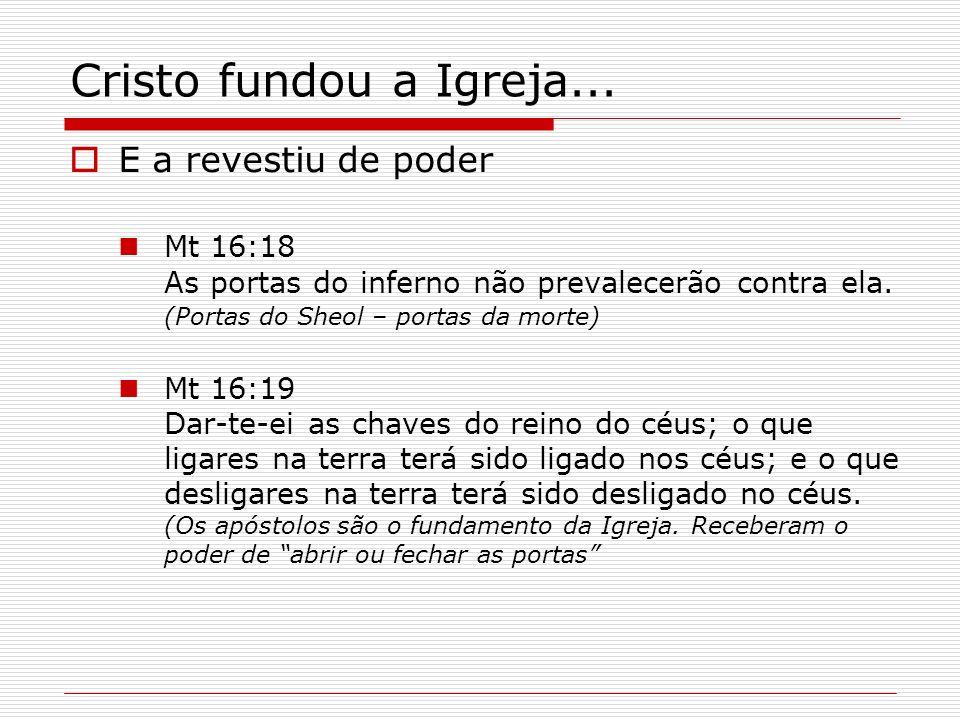 Cristo fundou a Igreja... E a revestiu de poder Mt 16:18 As portas do inferno não prevalecerão contra ela. (Portas do Sheol – portas da morte) Mt 16:1