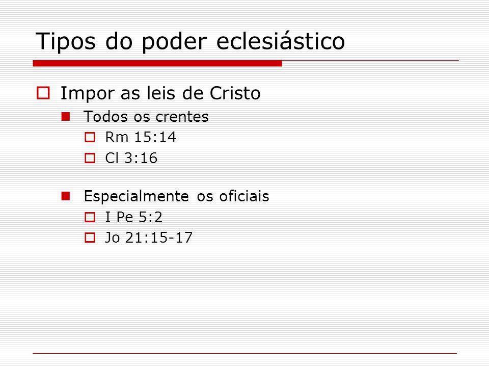 Tipos do poder eclesiástico Impor as leis de Cristo Todos os crentes Rm 15:14 Cl 3:16 Especialmente os oficiais I Pe 5:2 Jo 21:15-17