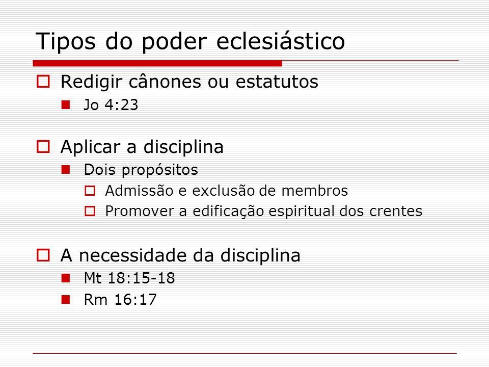 Tipos do poder eclesiástico Redigir cânones ou estatutos Jo 4:23 Aplicar a disciplina Dois propósitos Admissão e exclusão de membros Promover a edific
