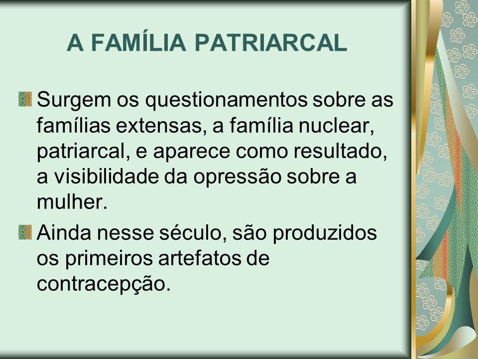 A FAMÍLIA PATRIARCAL Surgem os questionamentos sobre as famílias extensas, a família nuclear, patriarcal, e aparece como resultado, a visibilidade da