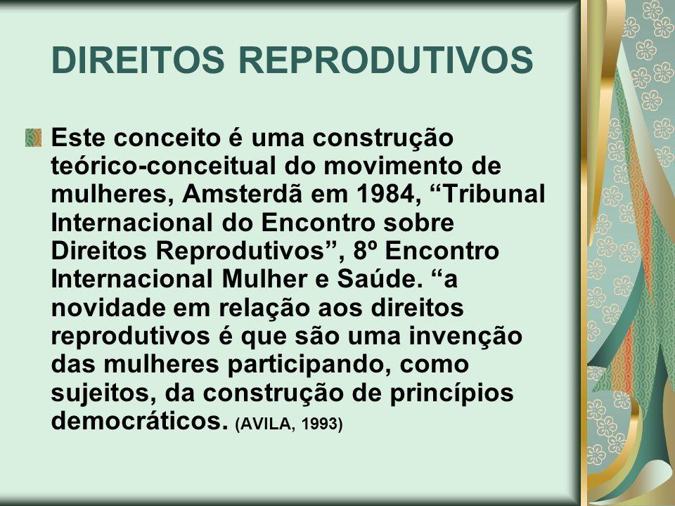 DIREITOS REPRODUTIVOS Este conceito é uma construção teórico-conceitual do movimento de mulheres, Amsterdã em 1984, Tribunal Internacional do Encontro