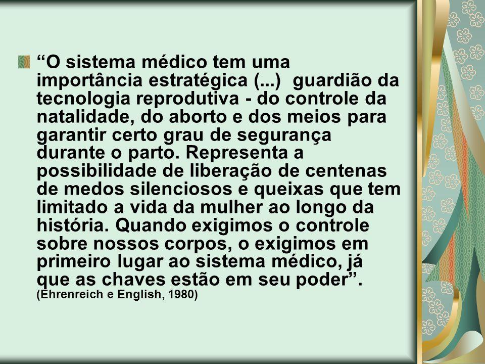 O sistema médico tem uma importância estratégica (...) guardião da tecnologia reprodutiva - do controle da natalidade, do aborto e dos meios para gara