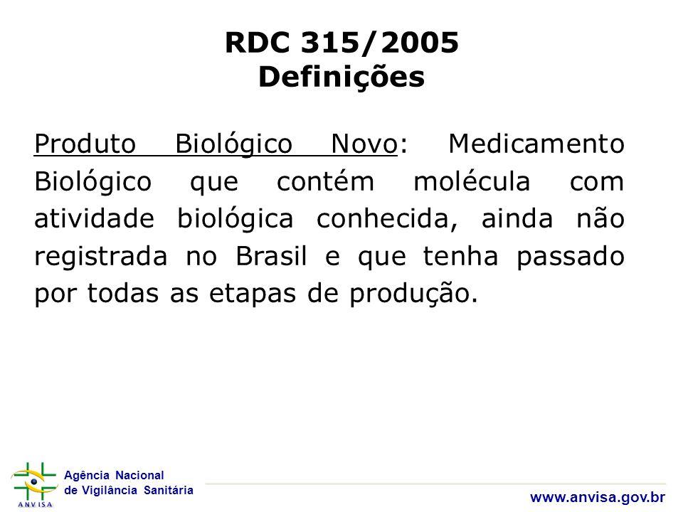 Agência Nacional de Vigilância Sanitária www.anvisa.gov.br RDC 315/2005 Definições Produto Biológico Novo: Medicamento Biológico que contém molécula c