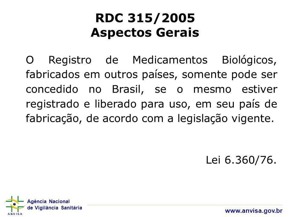 Agência Nacional de Vigilância Sanitária www.anvisa.gov.br RDC 315/2005 Aspectos Gerais O Registro de Medicamentos Biol ó gicos, fabricados em outros