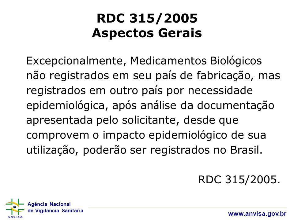 Agência Nacional de Vigilância Sanitária www.anvisa.gov.br RDC 315/2005 Aspectos Gerais Excepcionalmente, Medicamentos Biol ó gicos não registrados em