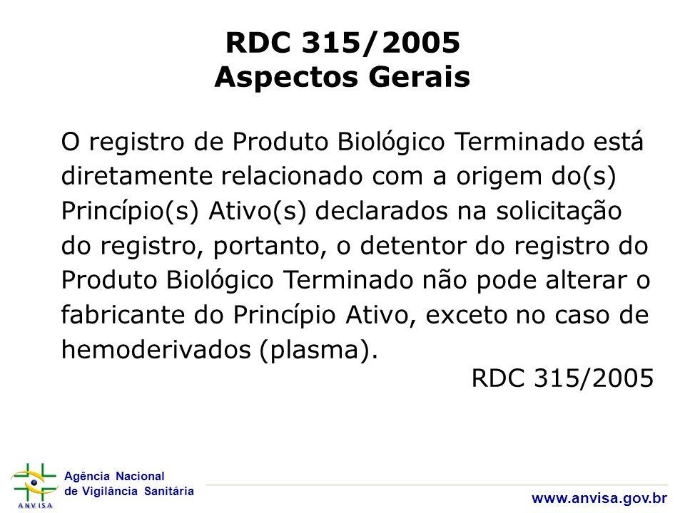 Agência Nacional de Vigilância Sanitária www.anvisa.gov.br RDC 315/2005 Aspectos Gerais O registro de Produto Biol ó gico Terminado est á diretamente