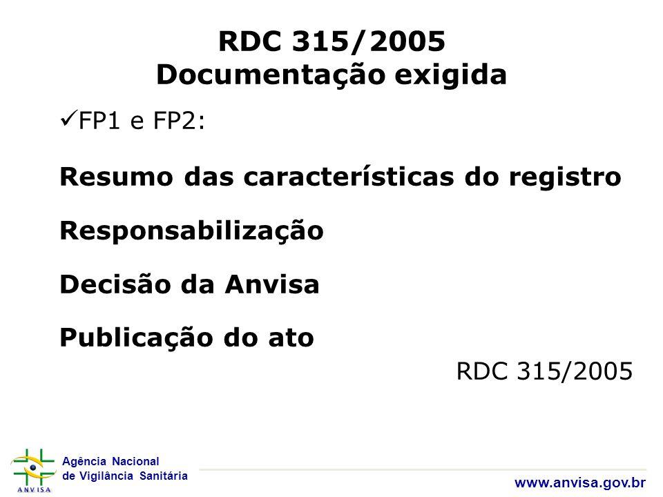 Agência Nacional de Vigilância Sanitária www.anvisa.gov.br RDC 315/2005 Documentação exigida FP1 e FP2: Resumo das características do registro Respons