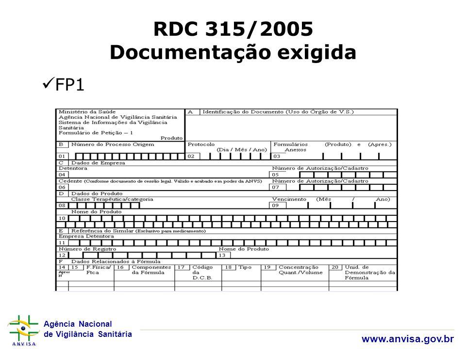 Agência Nacional de Vigilância Sanitária www.anvisa.gov.br RDC 315/2005 Documentação exigida FP1