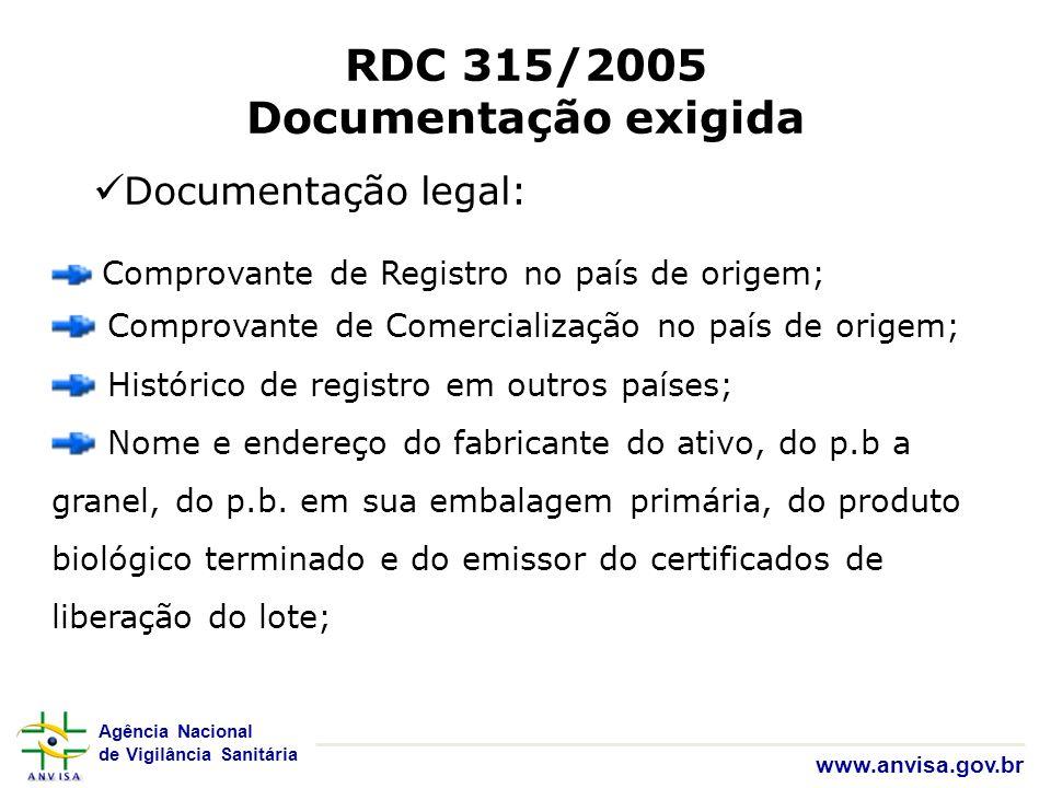 Agência Nacional de Vigilância Sanitária www.anvisa.gov.br RDC 315/2005 Documentação exigida Documentação legal: Comprovante de Registro no país de or