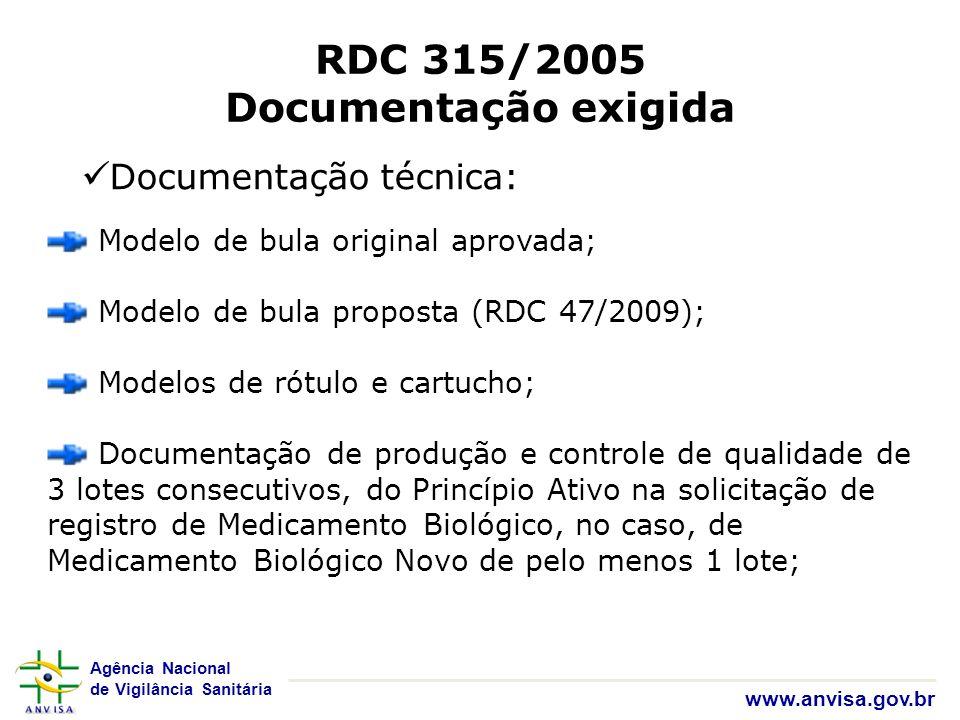 Agência Nacional de Vigilância Sanitária www.anvisa.gov.br RDC 315/2005 Documentação exigida Documentação técnica: Modelo de bula original aprovada; M