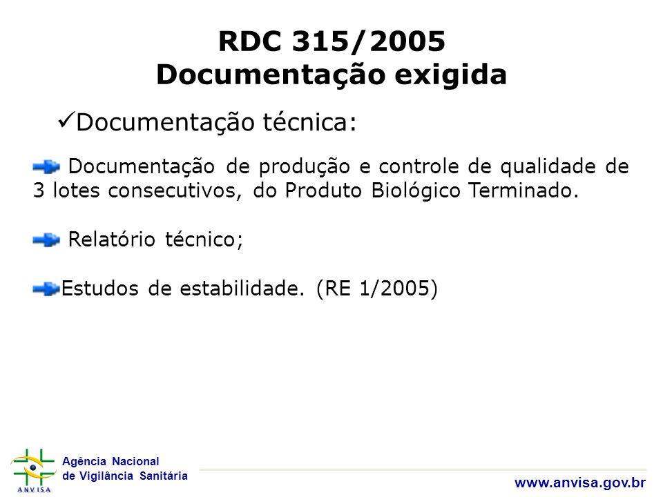 Agência Nacional de Vigilância Sanitária www.anvisa.gov.br RDC 315/2005 Documentação exigida Documentação técnica: Documentação de produção e controle