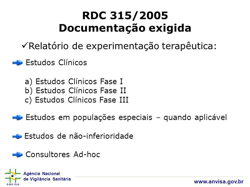 Agência Nacional de Vigilância Sanitária www.anvisa.gov.br RDC 315/2005 Documentação exigida Relatório de experimentação terapêutica: Estudos Clínicos