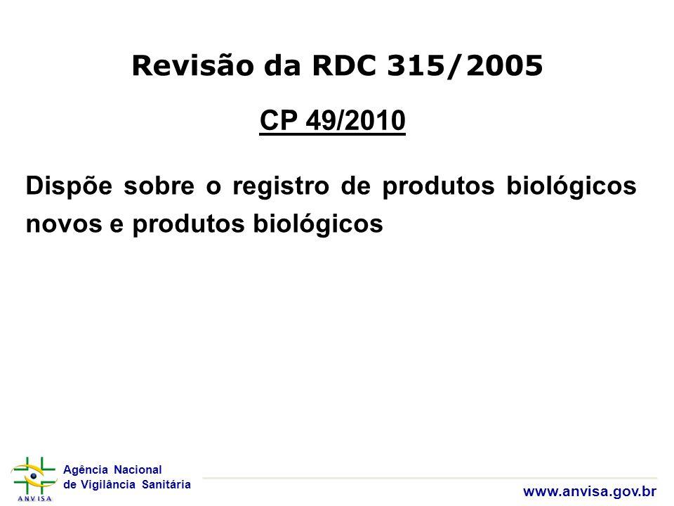 Agência Nacional de Vigilância Sanitária www.anvisa.gov.br Revisão da RDC 315/2005 CP 49/2010 Dispõe sobre o registro de produtos biológicos novos e p