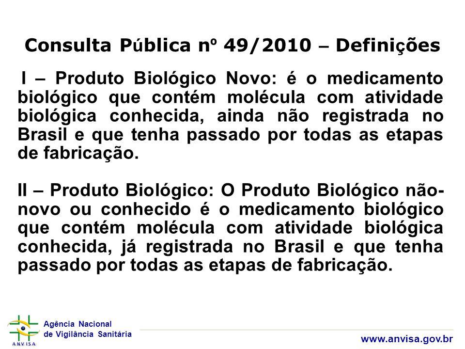 Agência Nacional de Vigilância Sanitária www.anvisa.gov.br Consulta P ú blica n º 49/2010 – Defini ç ões I – Produto Biológico Novo: é o medicamento b