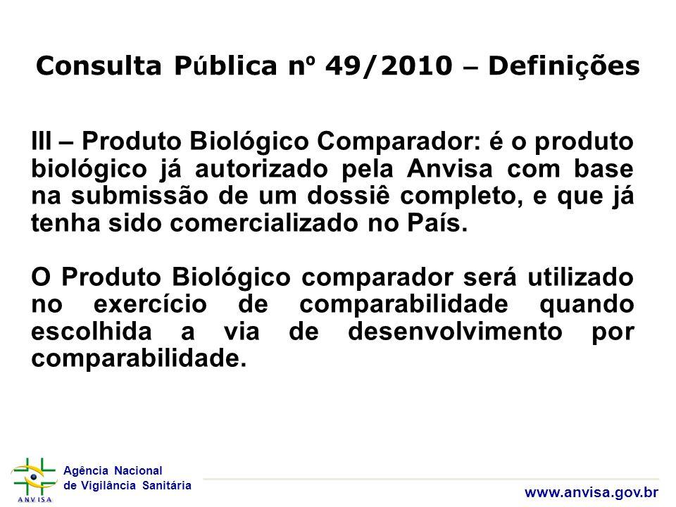Agência Nacional de Vigilância Sanitária www.anvisa.gov.br III – Produto Biológico Comparador: é o produto biológico já autorizado pela Anvisa com bas