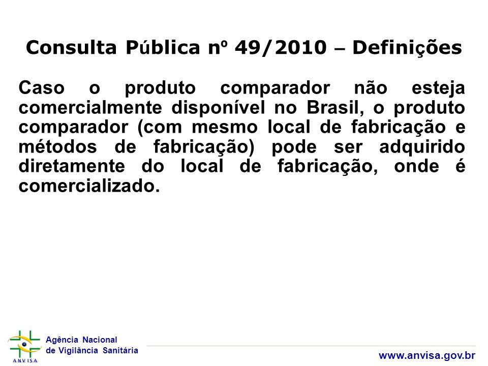 Agência Nacional de Vigilância Sanitária www.anvisa.gov.br Caso o produto comparador não esteja comercialmente disponível no Brasil, o produto compara
