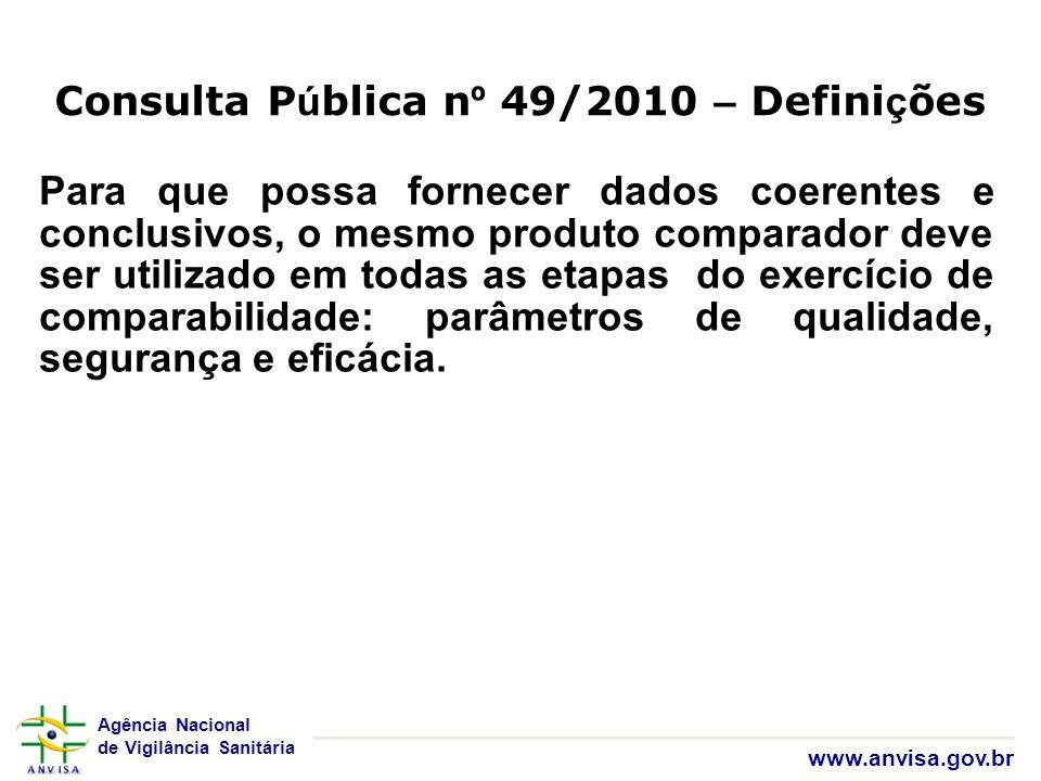 Agência Nacional de Vigilância Sanitária www.anvisa.gov.br Para que possa fornecer dados coerentes e conclusivos, o mesmo produto comparador deve ser