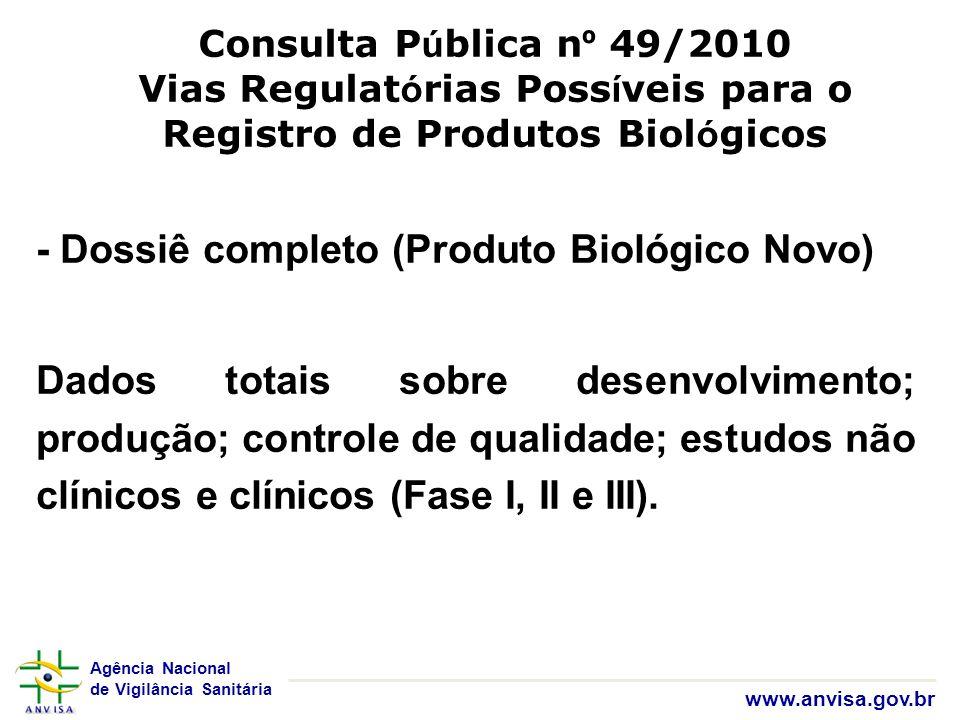 Agência Nacional de Vigilância Sanitária www.anvisa.gov.br Consulta P ú blica n º 49/2010 Vias Regulat ó rias Poss í veis para o Registro de Produtos