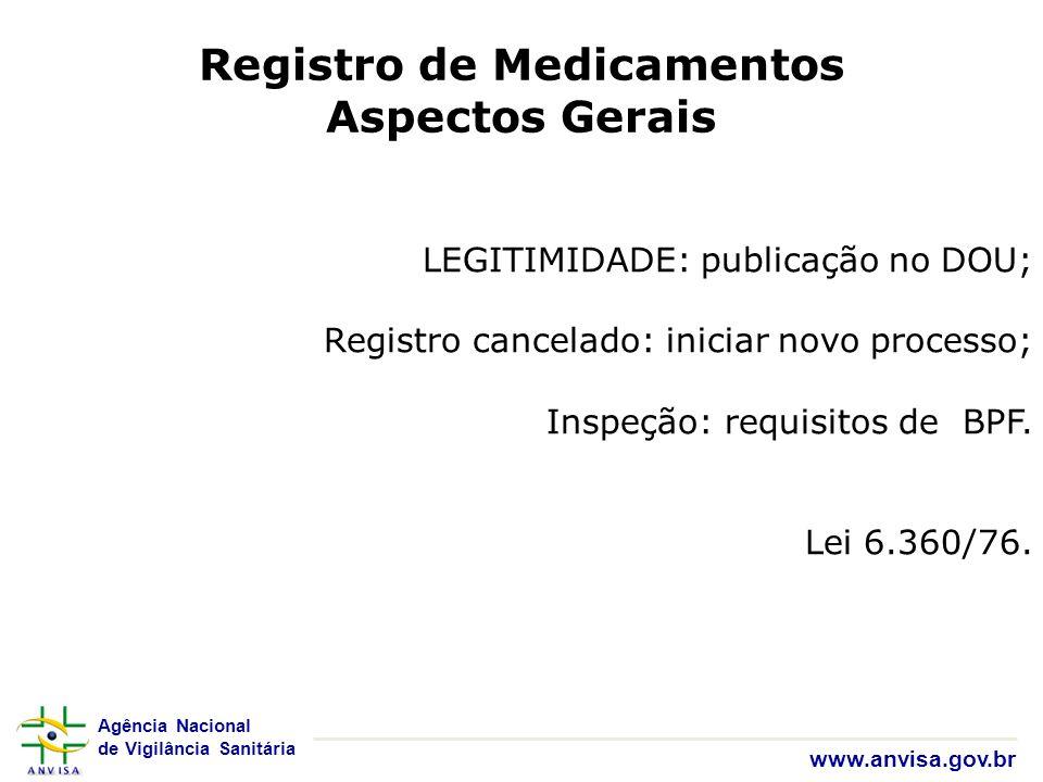 Agência Nacional de Vigilância Sanitária www.anvisa.gov.br LEGITIMIDADE: publicação no DOU; Registro cancelado: iniciar novo processo; Inspeção: requi