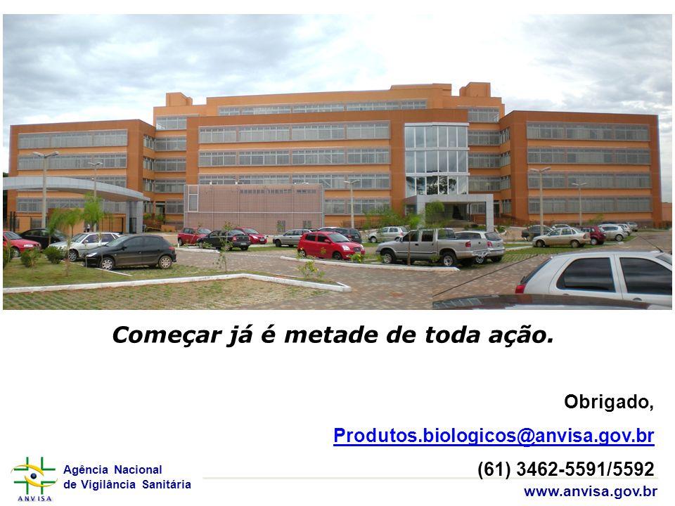 Agência Nacional de Vigilância Sanitária www.anvisa.gov.br Obrigado, Produtos.biologicos@anvisa.gov.br (61) 3462-5591/5592 Começar já é metade de toda
