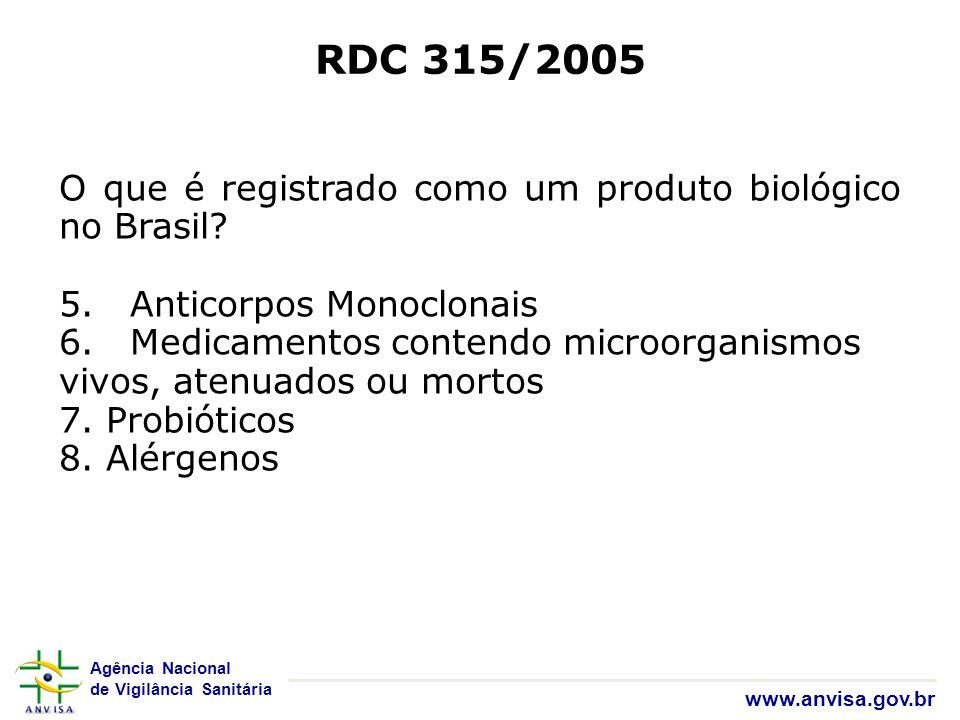Agência Nacional de Vigilância Sanitária www.anvisa.gov.br RDC 315/2005 O que é registrado como um produto biológico no Brasil? 5. Anticorpos Monoclon
