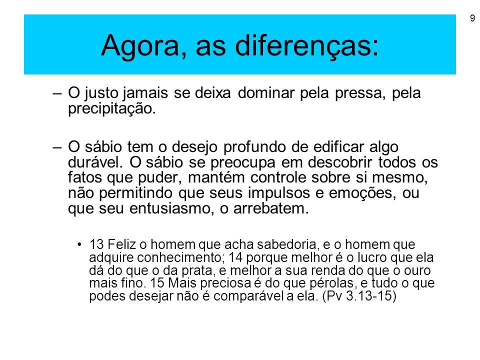 9 Agora, as diferenças: –O justo jamais se deixa dominar pela pressa, pela precipitação. –O sábio tem o desejo profundo de edificar algo durável. O sá
