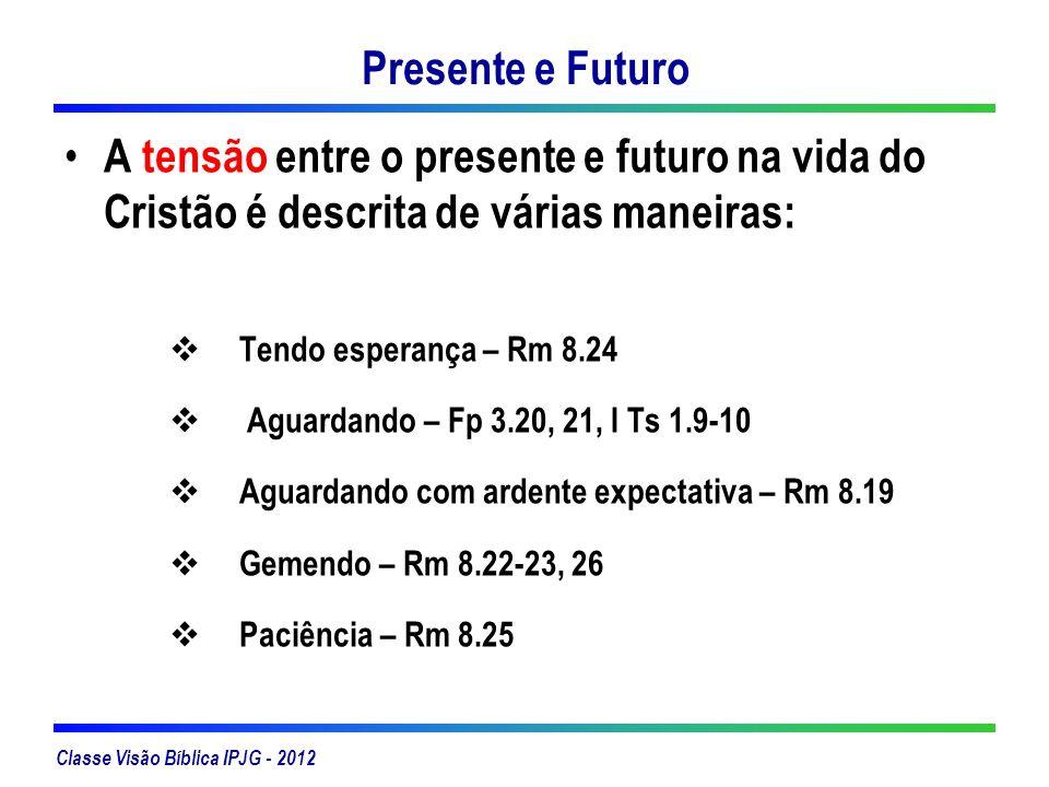 Classe Visão Bíblica IPJG - 2012 Presente e Futuro A tensão entre o presente e futuro na vida do Cristão é descrita de várias maneiras: Tendo esperanç