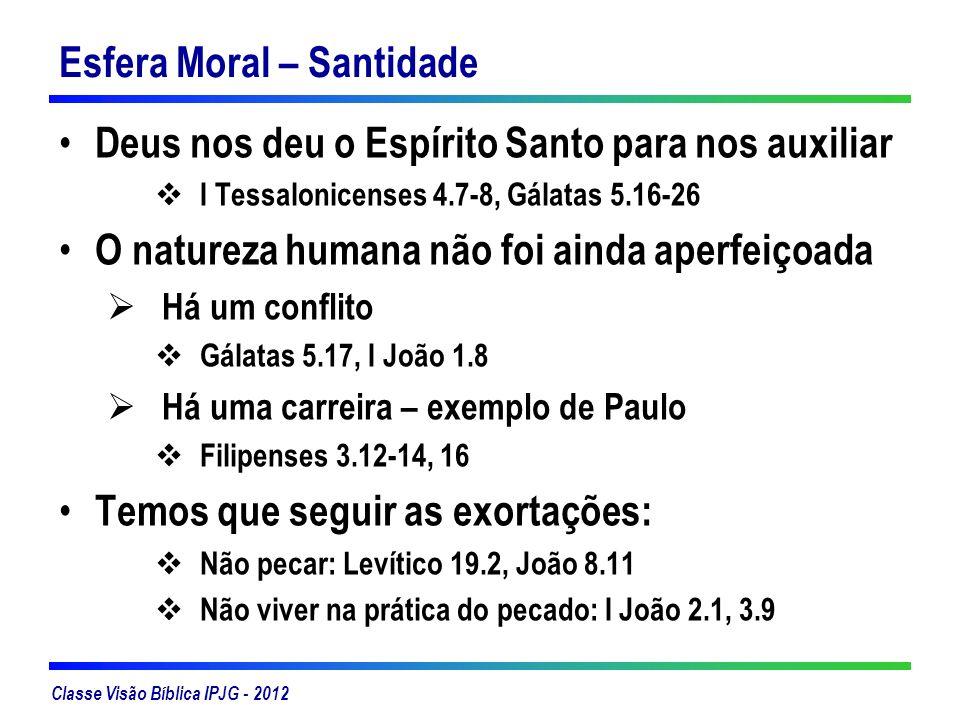 Classe Visão Bíblica IPJG - 2012 Esfera Moral – Santidade Deus nos deu o Espírito Santo para nos auxiliar I Tessalonicenses 4.7-8, Gálatas 5.16-26 O n