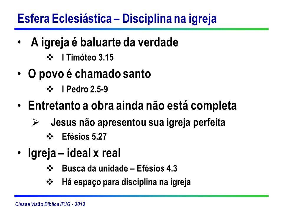 Classe Visão Bíblica IPJG - 2012 Esfera Eclesiástica – Disciplina na igreja A igreja é baluarte da verdade I Timóteo 3.15 O povo é chamado santo I Ped
