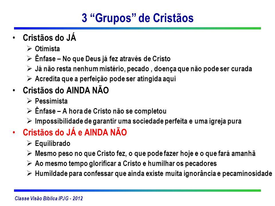 Classe Visão Bíblica IPJG - 2012 3 Grupos de Cristãos Cristãos do JÁ Otimista Ênfase – No que Deus já fez através de Cristo Já não resta nenhum mistér
