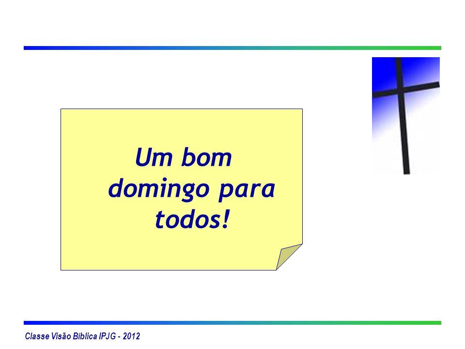 Classe Visão Bíblica IPJG - 2012 Um bom domingo para todos!